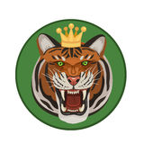 Tiger with crown roars Royalty Free Stock Image