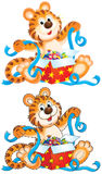 Tiger cub with gift Royalty Free Stock Photo