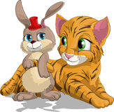 Tiger cub and hare. The hare embraces a tiger cub vector illustration