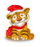 A tiger cub is in a little cap and scarf Stock Image