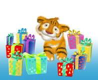 A tiger cub sits near boxes with gifts. Tiger cub, symbol 2010 years next to gifts Royalty Free Stock Images