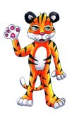Tiger Cub Waving Hi heureux ! illustration de vecteur