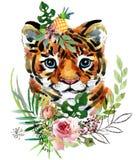 Tiger cub. wild animals watercolor illustration