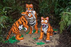 Tiger cubs statue made from Lego bricks. CHESTER, UNITED KINGDOM - MARCH 27TH 2019: Tiger cubs statue made from Lego bricks stock photography