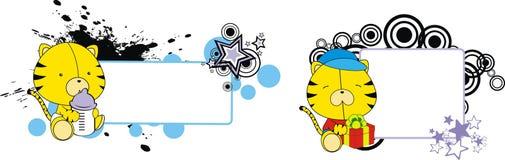Tiger cute baby cartoon copyspace Stock Photo