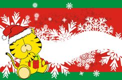 Tiger cute cartoon xmas claus costume background Royalty Free Stock Photography