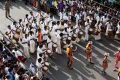 Tiger dance procession. Trained artists get their bodies painted like tigers participate in the Pulikkali or Tiger dance procession, in Thrissur, Kerala, India Royalty Free Stock Photos