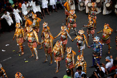Tiger dance procession. Trained artists get their bodies painted like tigers participate in the Pulikkali or Tiger dance procession, in Thrissur, Kerala, India Stock Photo