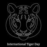 Tiger Day international 29 juillet Le mammifère sauvage est un animal style linéaire illustration stock