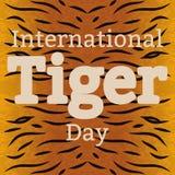 Tiger Day international 29 juillet Le mammifère sauvage est un animal Type de dessin animé Le nom de l'événement, fond la texture Photo stock