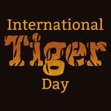 Tiger Day international 29 juillet Le mammifère sauvage est un animal Type de dessin animé Le nom de l'événement, la texture de l Photo libre de droits