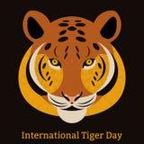 Tiger Day international 29 juillet Le mammifère sauvage est un animal Type de dessin animé Quelques éléments avec une texture Photographie stock