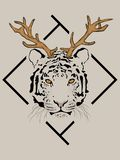 Tiger with deer antlers in front of the black frame. stock illustration