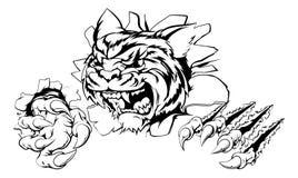 Tiger, der durch Hintergrund zerreißt Lizenzfreie Stockfotos