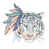Tiger in der indischen Behandlung Stockfotografie