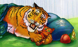 Tiger, der mit Spielzeugtiger spielt Lizenzfreies Stockbild