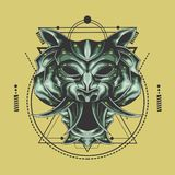 Tiger head sacred geometry royalty free illustration