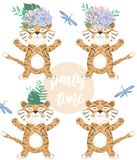 Tiger Digital Clip Art Cute Animal And Flowers On Head. Party Time Text. Greeting Celebration Birthday Card Funny African Wildlife Royalty Free Stock Image