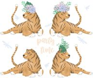 Tiger Digital Clip Art Cute Animal And Flowers On Head. Party Time Text. Greeting Celebration Birthday Card Funny African Wildlife Stock Image