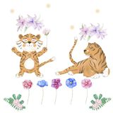 Tiger digital clip art cute animal and flowers for card, posters, royalty free illustration