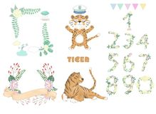 Tiger digital clip art cute animal and flowers for card, frame and ribbon posters, on white background for celebration stock illustration