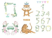 Tiger digital clip art cute animal and flowers for card, posters, on white background for celebration vector illustration