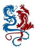 Tiger & Dragon. Abstract vector illustration of chinese mythology creatures Royalty Free Stock Images