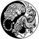 Tiger and dragon yin yang symbol stock illustration