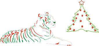 Tiger dressed up for christmas. A tiger with green red stripes and christmas tree Stock Photography