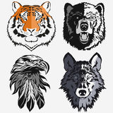 Tiger Eagle Wolf Bear logo set vector Stock Photos