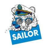 Tiger in einer Maske für das Tauchen Ferien und Meer schwimmen sport stock abbildung