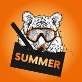 Tiger in einer Maske für das Tauchen Ferien und Meer schwimmen sport vektor abbildung