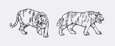 Tiger emblem set Stock Photos