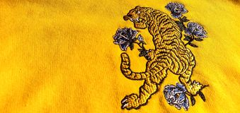 Tiger embroidery on a sweatshirt.  royalty free stock image