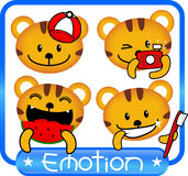 Tiger emotion cute. In blue frame collection Stock Photo