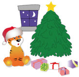 Tiger in expectation of New Year. Gifts on a floor Royalty Free Stock Image