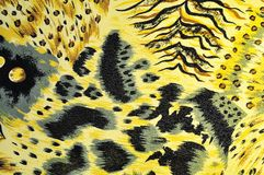 Tiger fabric. Tiger yellow fabric background texute Stock Photography