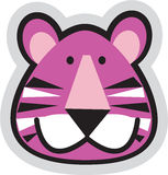 Tiger face. A beautiful pink illustrated tiger face with strips Stock Photo
