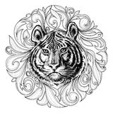 Tiger face. Black and white abstract decoration Royalty Free Stock Images