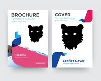 Tiger face brochure flyer design template. With abstract photo background, minimalist trend business corporate roll up or annual report Royalty Free Stock Photography