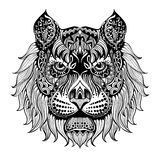 Tiger face2. Ethnic patterned head of Lion , Animals. Black white hand drawn doodle. Ethnic pattern vector illustration. , totem, tattoo design. Sketch for Royalty Free Stock Photos
