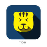 Tiger face flat icon design. Animal icons series. Stock Images