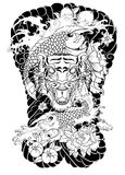 Tiger face with koi dragon on cloud background.Koi fish with tiger roaring tattoo.peach with peony and plum flower on cloud backgr. Traditional Japanese tattoo Stock Photos