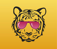 Tiger face with pink glasses Stock Image