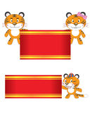 Tiger Family Hold Banner Royalty Free Stock Image