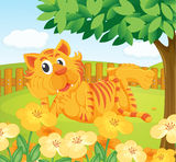 A tiger in the fenced garden. Illustration of a tiger in the fenced garden Stock Image