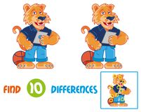 Tiger  find 10 differences. Find differences logic education interactive game for children. Very cute and happy cartoon tiger which smile and keep and using the Stock Images