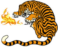 Tiger with fire. Illustration isolated on white background Royalty Free Stock Photo