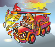 Tiger fireman. Hurry on fire on fire truck  he disturbs fire and smoke Stock Image