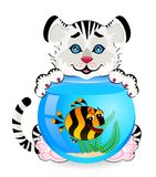 Tiger with  fish in aquarium. Little cartoon tiger with little colorful tropical fish in aquarium Royalty Free Stock Image